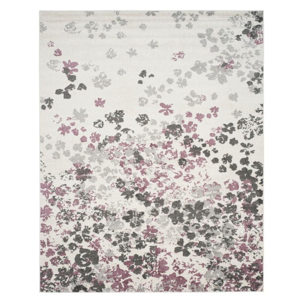 Floral Area Rug Ivory/Purple