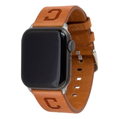 MLB Cleveland Indians Apple Watch Compatible Leather Band 42/44mm - Tan