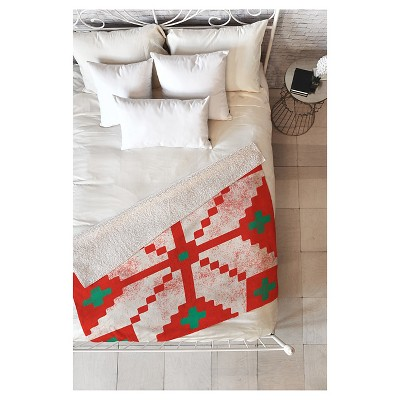 "Red Nature Zoe Wodarz Southwest Snowflake Red Sherpa Throw Blanket (50""X60"") - Deny Designs"