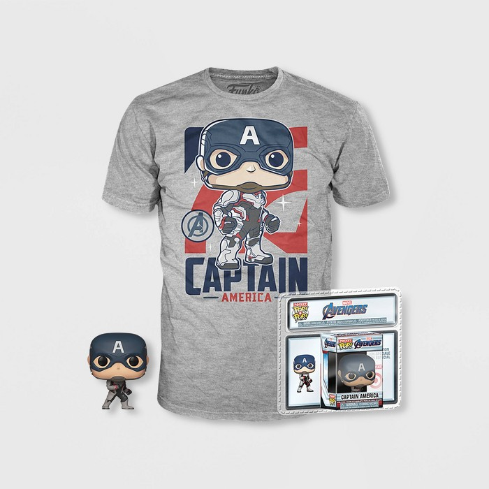 Boys' Captain America Short Sleeve T-Shirt with Mini Funko POP! - Black - image 1 of 1