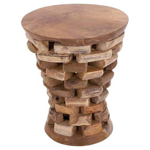 Round Shaped Teak Wooden Accent Table in Natural Rich Textures - image 1 of 1