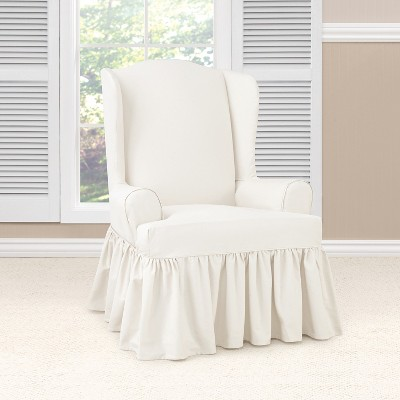 Beau Essential Twill Ruffle Wing Chair Slipcover White   Sure Fit : Target