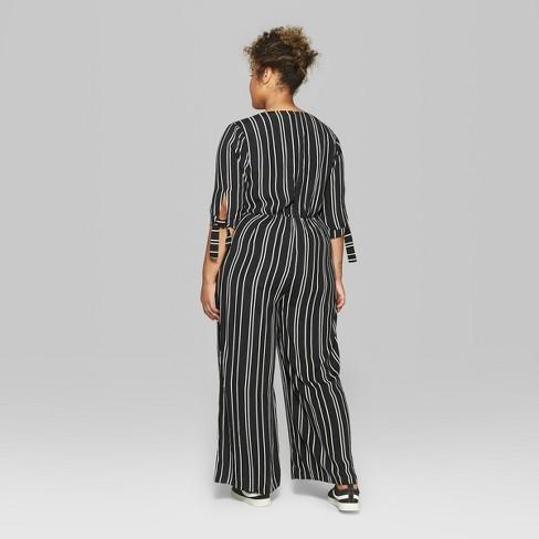 80cc70d3122 Women s Plus Size Striped Tie Short Sleeve Jumpsuit - Wild Fable™ Black white  1X   Target