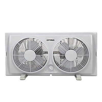 Optimus F-5280 Powerful 2 Speed Versatile 7 Inch Cool Air Home Twin Window Fan with Both Side Speed Control, Built In Slide Screens, and Safety Grill