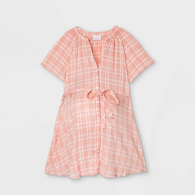 Short Sleeve Button-Down with Tie Waist Woven Popover Maternity Top - Isabel Maternity by Ingrid & Isabel™