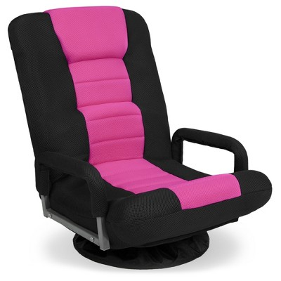 Best Choice Products 360-Degree Swivel Gaming Floor Chair w/ Armrest Handles, Foldable Adjustable Backrest - Black/Pink
