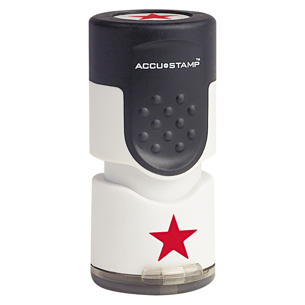 Image of Accustamp Accustamp Pre-Inked Round Stamp with Microban, Star, 5/8 dia., Red