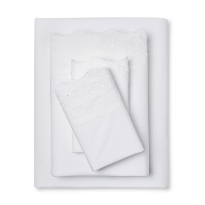 Embroidered Hem Solid Sheet Set (Queen)White - Simply Shabby Chic™