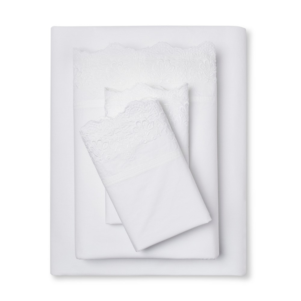 Embroidered Hem Solid Sheet Set (Twin Extra Long) White - Simply Shabby Chic was $30.99 now $21.69 (30.0% off)