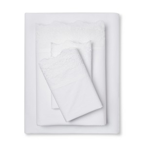 Embroidered Hem Solid Sheet Set (Twin) White - Simply Shabby Chic