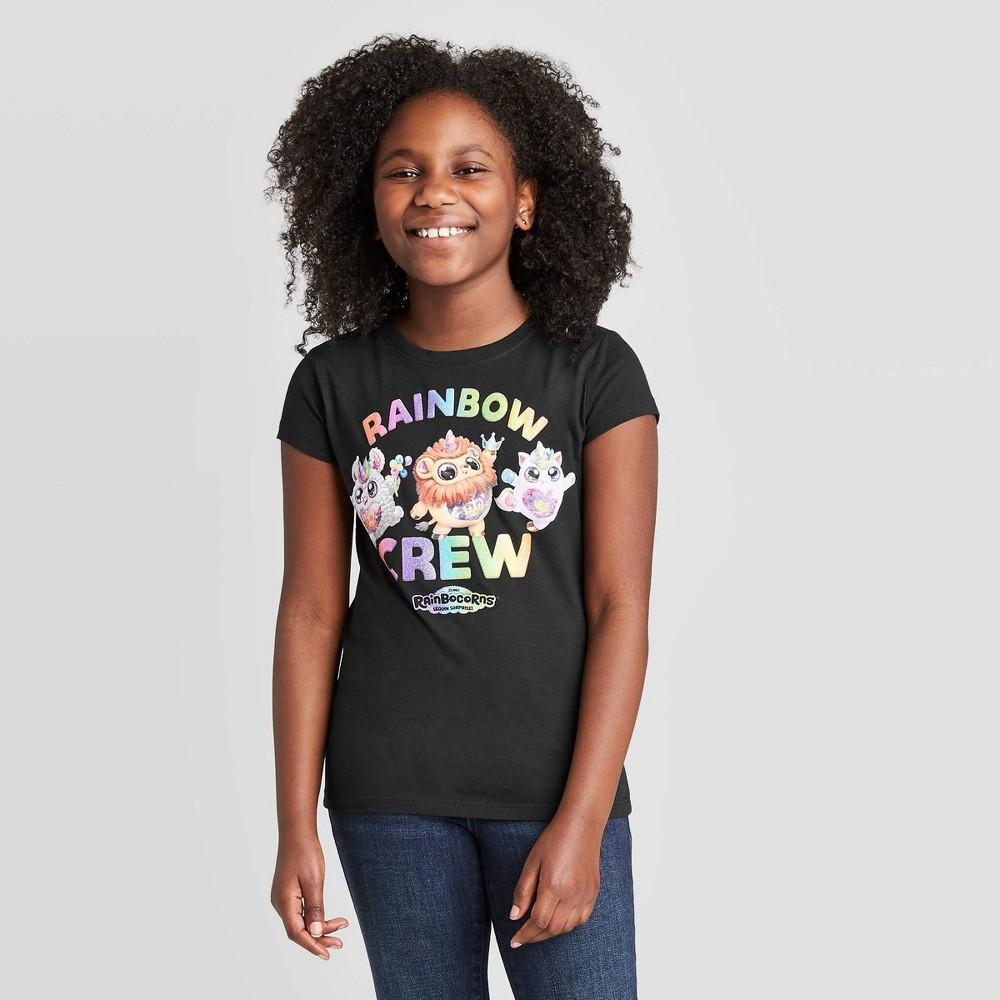 Image of Girls' Rainbocorns T-Shirt - Black, Girl's, Size: Large