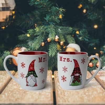 16oz 2pk Ceramic Mr. and Mrs. Gnome Mugs - Peppermint & Pine