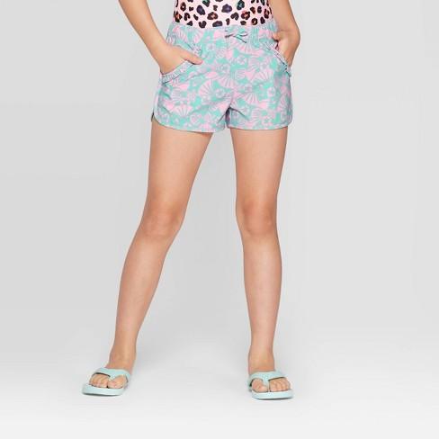 Girls' Woven Printed Ruffle Swim Cover Up Shorts - Cat & Jack™ Aqua - image 1 of 3