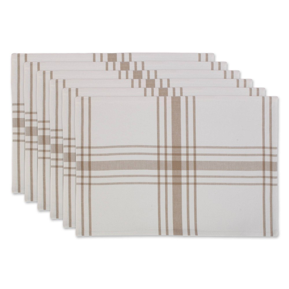 Image of 6pk Cotton Home Sweet Farmhouse Placemats Beige - Design Imports