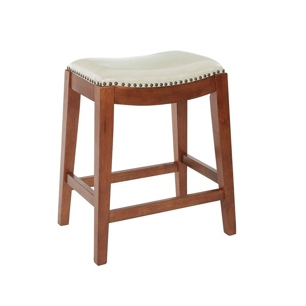 "Image of ""24"""" Metro Saddle Stool Cream - OSP Home Furnishings, Ivory"""