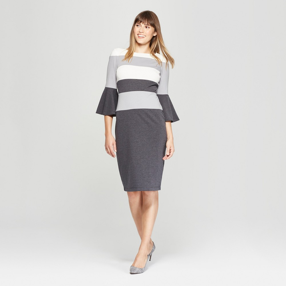 Image of Women's Striped Bell Sleeve Colorblock Ponte Dress - Melonie T - Black/White 10, Gray