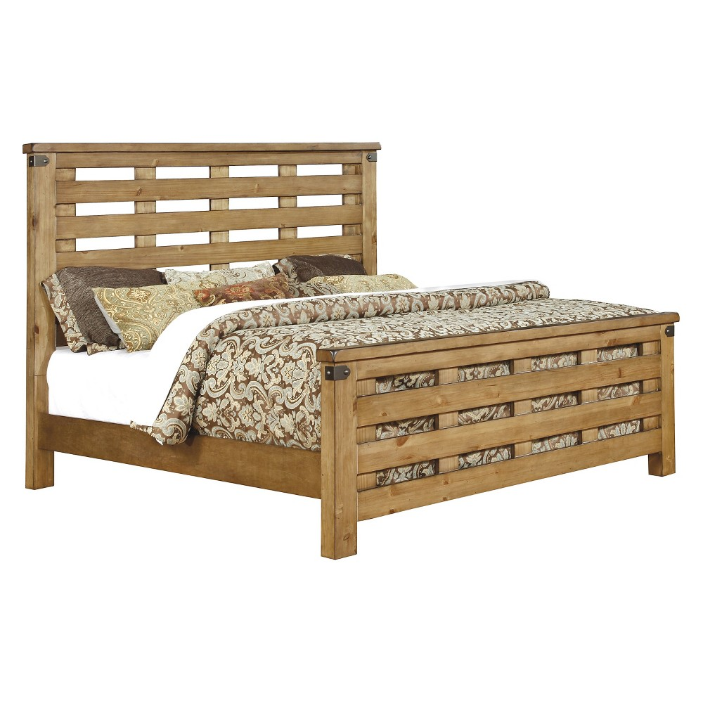 Sun & Pine Rosia Country Inspired Slatted Bed - Queen - Weathered Elm, Brown