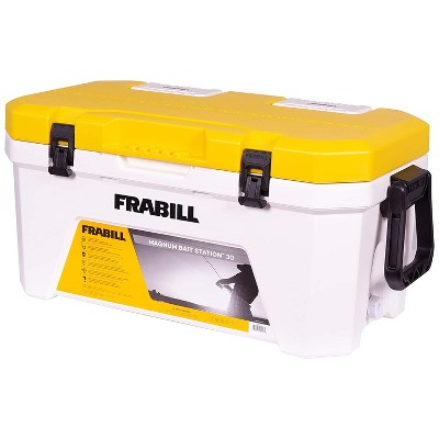 Frabill FRBBA230 Magnum Bait Station 30 Quart Heavy Duty Water Resistant Battery Powered 2 Speed Aerating Tackle Box Ice Cooler