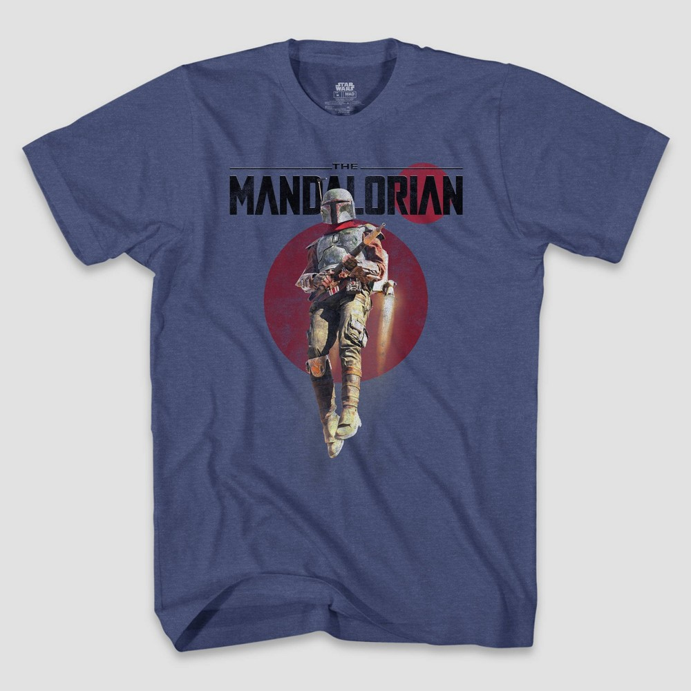 Men 39 S Star Wars The Mandalorian Short Sleeve Graphic Crewneck T Shirt Blue M