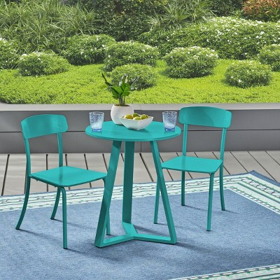 Samos 3pc Iron Bistro Set - Matte Teal - Christopher Knight Home