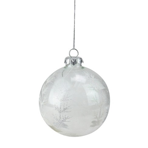 Kurt S Adler 3 75 Feather Filled Glass Ball Christmas Ornament White