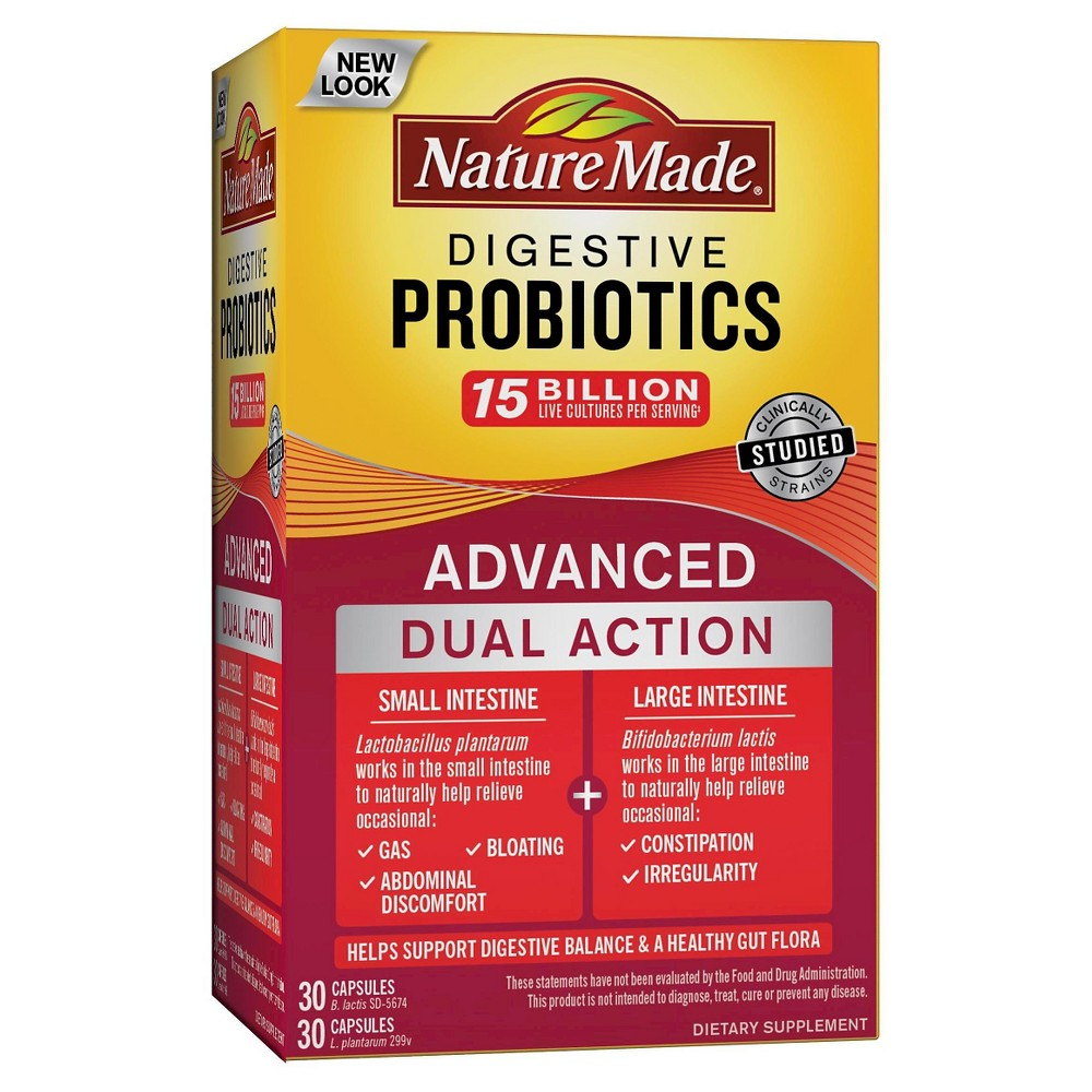 Nature Made Advanced Digestive Probiotics Dietary Supplement Capsules - 60ct