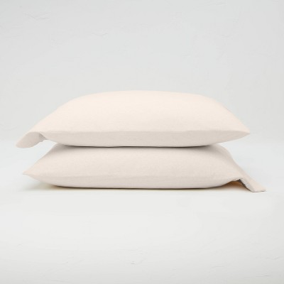Standard Jersey Solid Pillowcase Set Natural - Casaluna™
