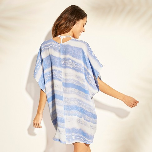 Women s Pom Pom Trim Kimono Cover Up - Xhilaration™ Blue Tie Dye   Target 4c1a02fd63