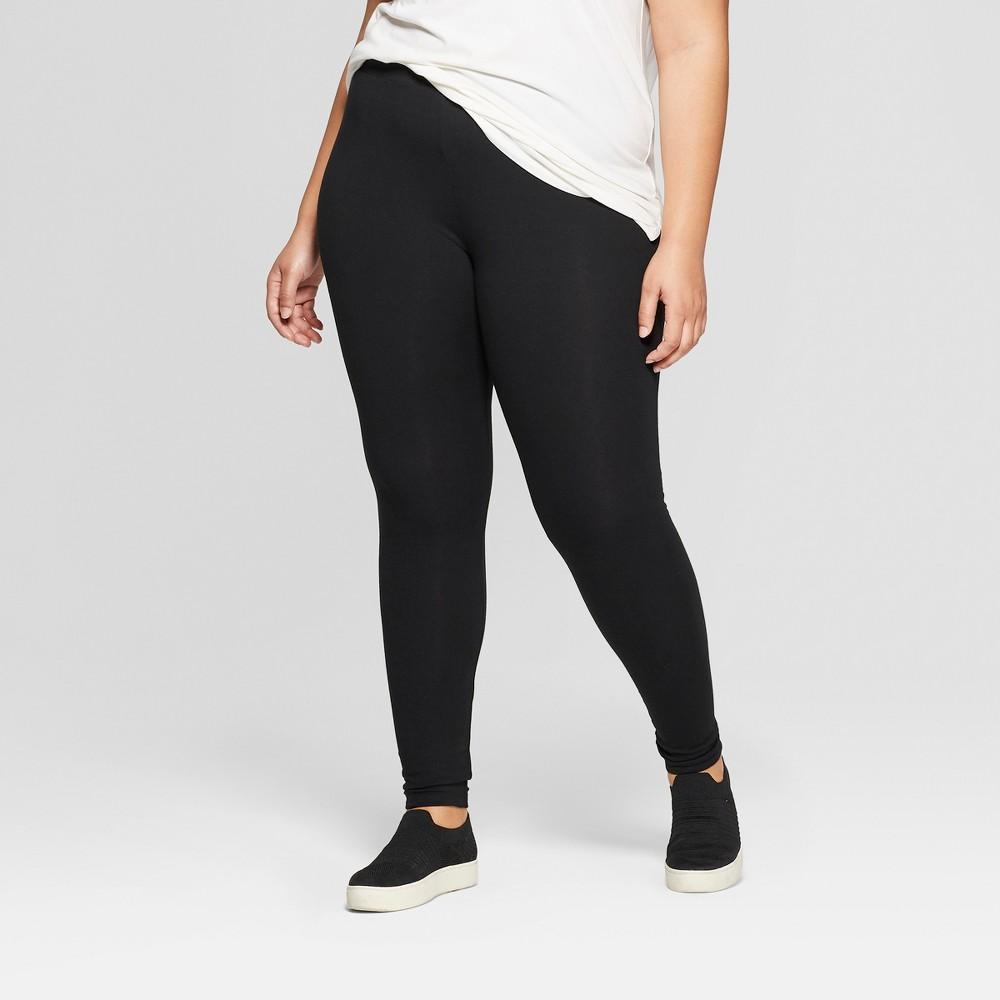 Women's Plus Size Ankle Length Leggings - Ava & Viv Black 4X