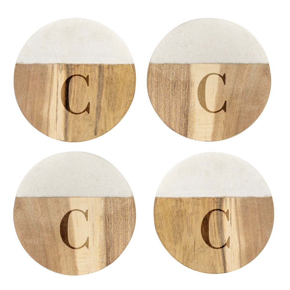 Cathy's Concepts Monogram Acacia and Marble Coasters C - Set of 4, Brown White