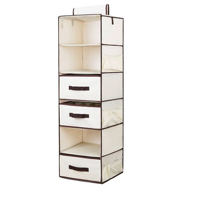 StorageWorks 6-Shelf Polyester Hanging Closet Organizer with 3-Drawers Natural