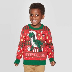 Toddler Boys' Disney Toy Story Rex Merry Rexmas Ugly Holiday Sweater - Red
