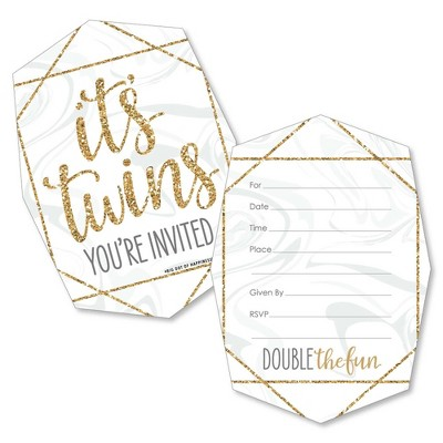 Big Dot of Happiness It's Twins - Shaped Fill-in Invitations - Gold Twins Baby Shower Invitation Cards with Envelopes - Set of 12