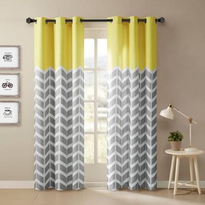Elaine Chevron Printed Grommet Top Curtain Panel Pair