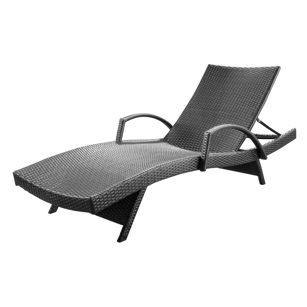 Salem Wicker Adjustable Chaise Lounge with Arms - Gray - Christopher Knight Home