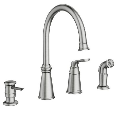 Moen 87044 Whitmore Single Handle High Arch Kitchen Faucet With Side Spray  and Soap Dispenser