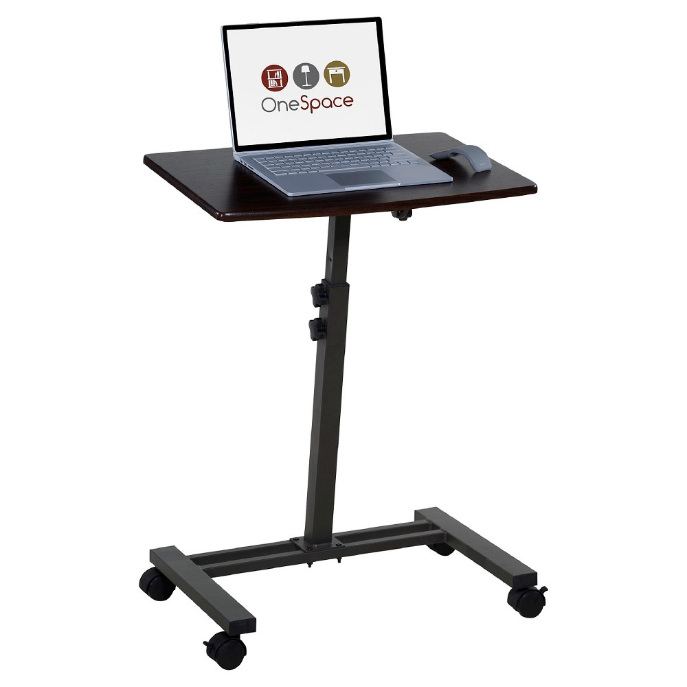 Image of OneSpace 50-JN02 Angle and Height Adjustable Mobile Laptop Computer Desk, Single Surface, Brown