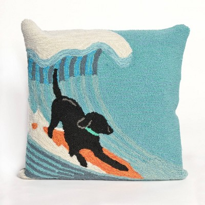 """18""""x18"""" Pool Side Surfing Indoor/Outdoor Square Throw Pillow Blue - Liora Manne"""