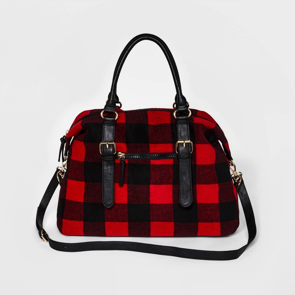 Image of Cesca Large Plaid Weekender Bag - Red, Women's, MultiColored