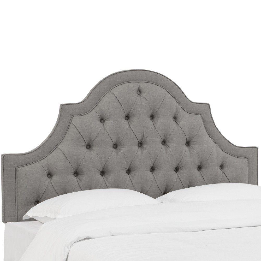 Bella High Arch Tufted Headboard Twin Linen Gray - Skyline Furniture