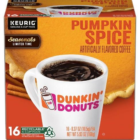 Dunkin' Donuts Pumpkin Spice Medium Roast Coffee - Keurig KCup Pods - 16ct - image 1 of 3