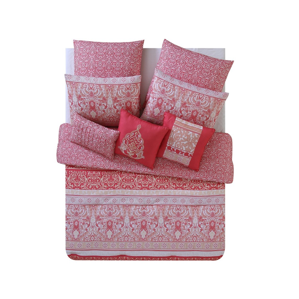 Coral (Pink) Royalty Printed Comforter Set (King) 8pc - Vcny