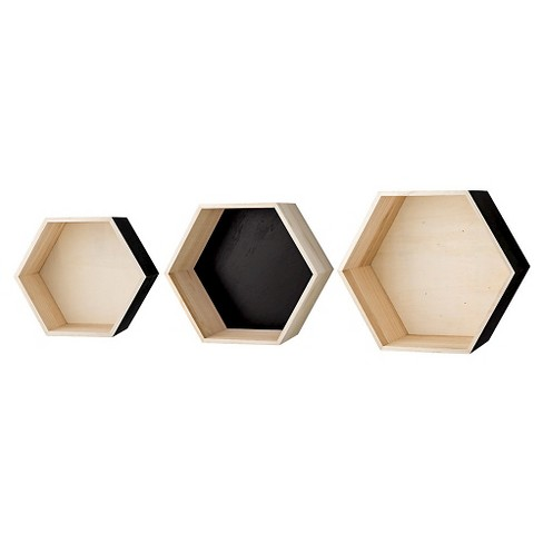 "Wood Hexagonal Display Boxes set of 3 - Natural/Black Truck Ship (18-3/4"") - 3R Studios - image 1 of 1"