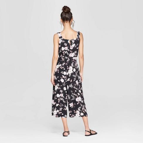 2e3c7077fcbb Women s Floral Print Strappy Square Neck Waist Tie Jumpsuit - Xhilaration™  Black   Target