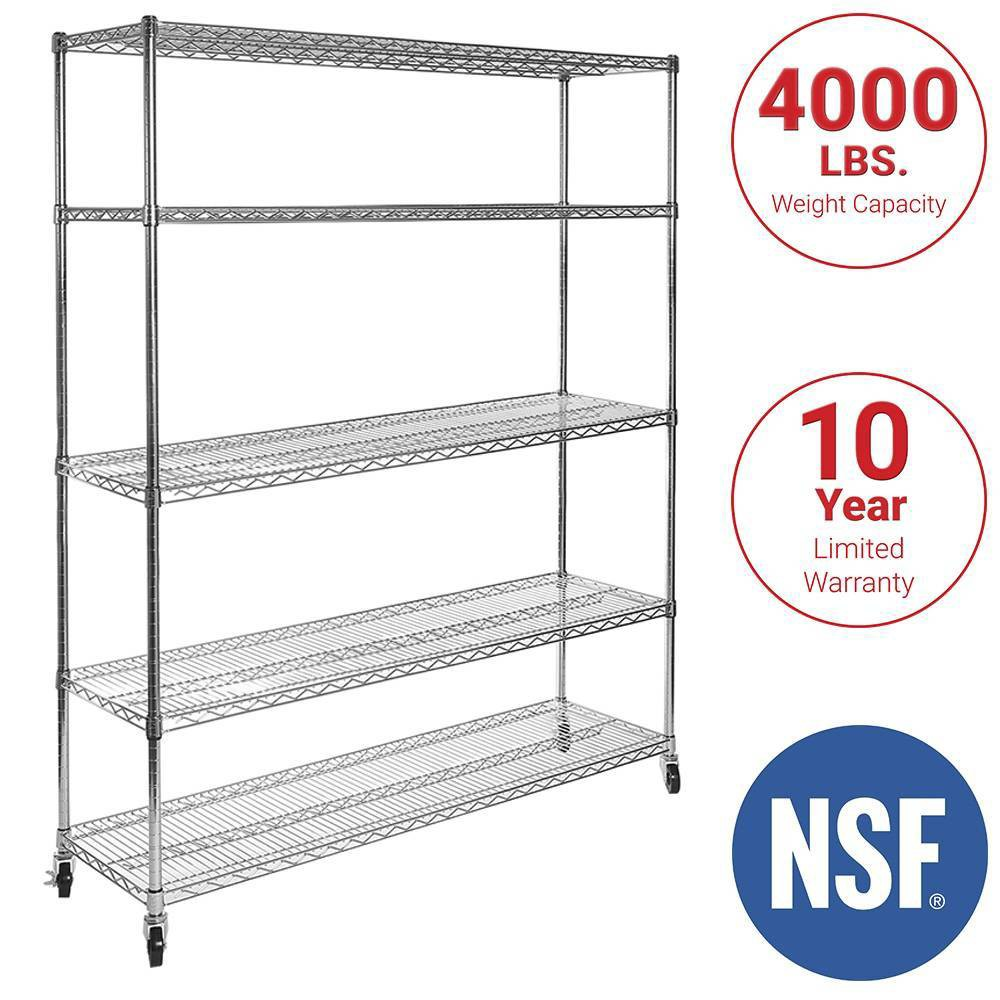 Image of 5-Tier UltraZinc NSF Steel Wire Shelving System 18x60x72 – Seville Classics, Silver