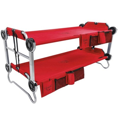 Disc-O-Bed Youth Kid-O-Bunk Benchable Camping Cot with Organizers, Bright Red