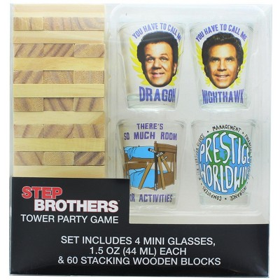 Silver Buffalo Step Brothers Tower Party Game With 4 Shot Glasses