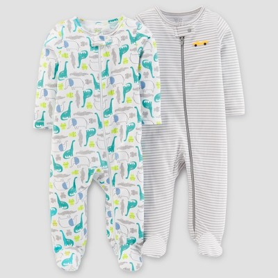 Baby Boys' 2pk Animals/Stripe Sleep N' Play - Just One You® made by carter's White/Teal Premie