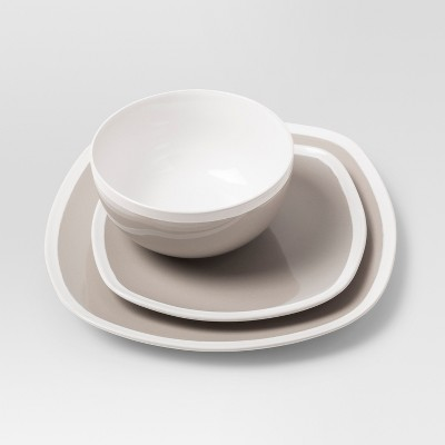 Soft Square Stoneware 12pc Dinnerware Set Taupe- Threshold™