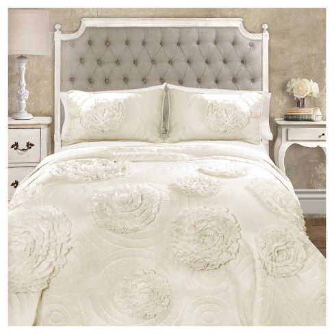 Serena Quilt Ivory 3 Piece Set - Lush Decor - image 1 of 4